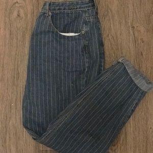 nasty gal high waisted denim striped mom jeans